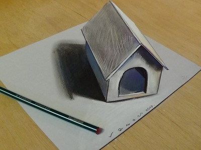 Trick Art Drawing 3D Tiny Dog House on Paper - 3D Art for Kids