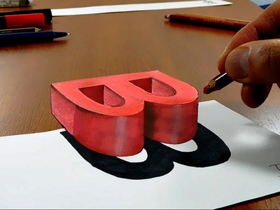 Try to do 3D Trick Art on Paper, floating letter B