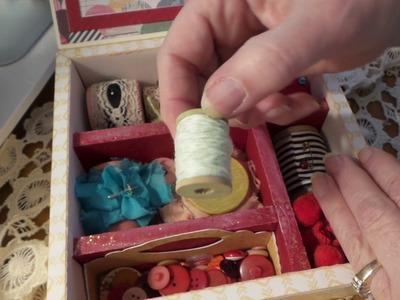 Vintage Sewing Kit: HOMEMADE KIT BOX WITH VINTAGE SPOOLS, TRIMS & FABRICS