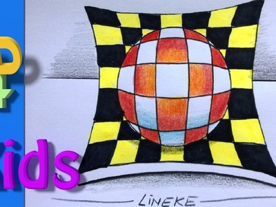 3D illusion drawing! anamorphic Ball very easy! 3D drawing #31