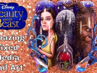 Beauty and the Beast - Mixed Media Nail Art - Hand Painted, 3D Acrylic, 3D Hard Gel Design