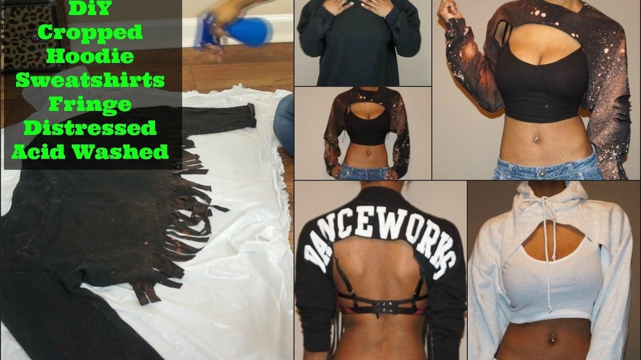 |DIY| Cropped Hoodie.Shirts - Acid Washed & Distressed Pt1