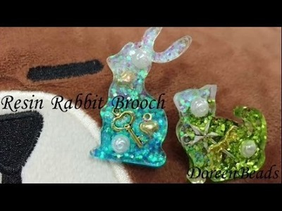 DoreenBeads Jewelry Making Tutorial - How to Make Lovely Resin Sequins Rabbit Brooch Entirely.