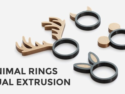 Dual Extrusion Rings - 3D Printing Multi Color Animal Rings Tutorial - How To
