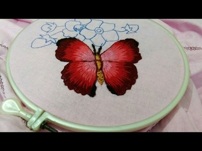 Hand embroidery beautiful butterfly with long and short stitch