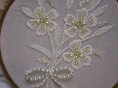 Hand embroidery designs. White work with beads. embroidery stitches tutorial.