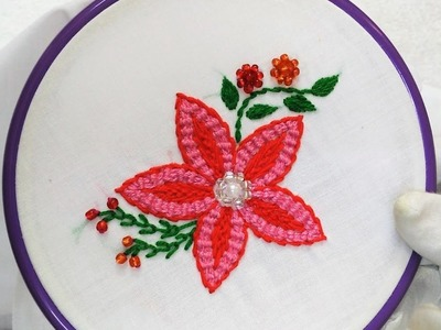 Hand Embroidery - Flower with Spider-web and Cretan Stitch