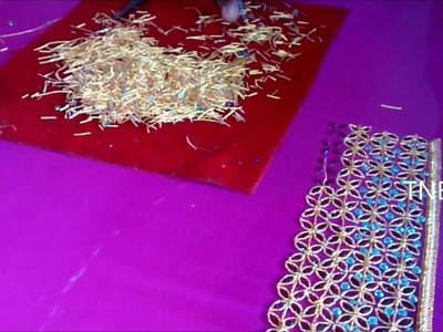 Hand embroidery tutorial for beginners, zardozi embroidery, mirror work saree and blouse online