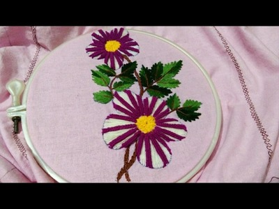 Hand embroidery with easy basic stitches Romanian stitch and web stitch combination