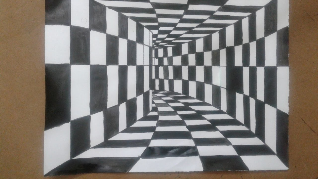 how to draw a 3d drawing 3d tunnel optical illusion simple and