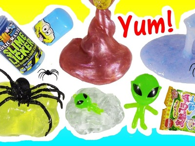 NEW SQUISHY STUFF! DIY Edible SLIME! SPIDER Ooze! Galaxy Squish! Alien Melting Ice Cube Putty! FUN