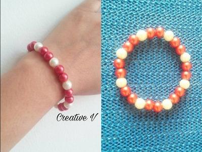 Simple And Easy Beaded Elastic Bracelet. Tutorial
