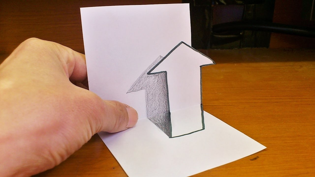 Very Easy How To Draw 3d Arrow For Kids Anamorphic Illusion 3d