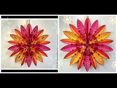 #diy Art and #craft : #howto make hanging #paperflower. #paperstar PART 2