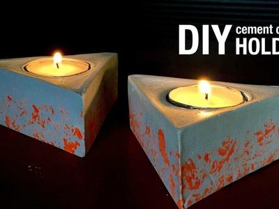 DIY Cement Geometric Candle Holders Tutorial #3 | Home Decor | How To Make - Anushree's Craft TV
