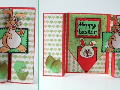 DIY Easter Card - Double Gatefold Card for Easter with Bunny and Egg