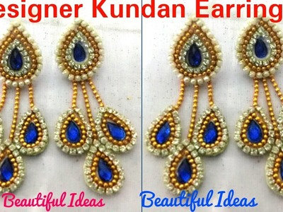 DIY.How to Make Designer Kundan Earrings Made Out Of Paper at Home. Tutorial