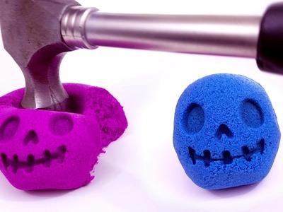 DIY How to Make Kinetic Sand Skull Alien Cake vs Hammer to Learn Colors Slime