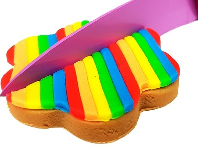 DIY How to Make Play-Doh Rainbow Cookies Modelling Clay Colors Fun and Creative