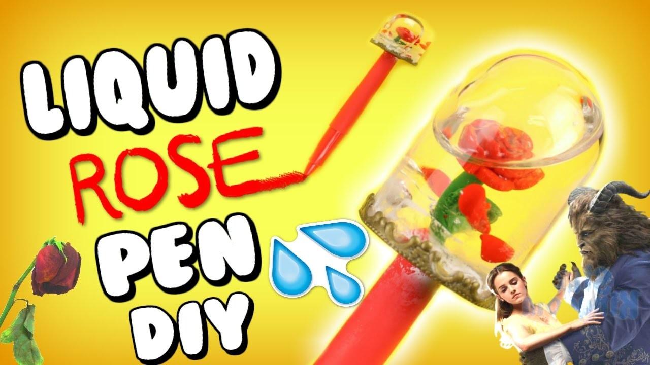 DIY Liquid Rose Pen! Disney Snow Globe Pen! Liquid School Supplies! Beauty & The Beast Stationary!
