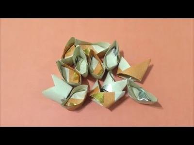 Easy Origami How to Make Chinese Ingot (Yuan Bao1) 简单手工折纸元宝1.簡単折り紙 元宝1です
