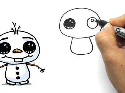 How to Draw Olaf Cute step by step easy Disney Frozen