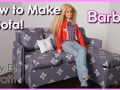 How to Make a Barbie Sofa! Easy Kids Craft!