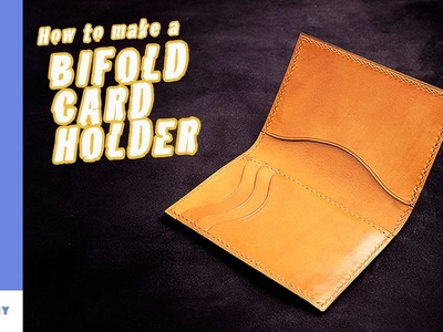 Leather bifold card holder.small wallet.Leather craft tutorial