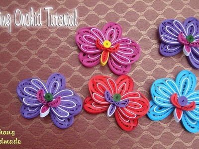 QUILLING ORCHID FLOWER V2 AND BUD TUTORIAL | DIY PAPER ORCHID FLOWER TUTORIAL