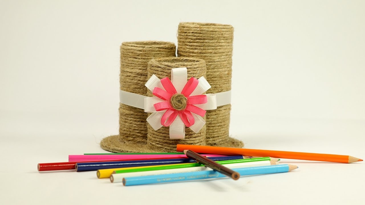 Waste material craft how to make a pencil pen holder - Waste material craft images ...