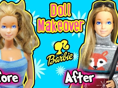 Barbie Doll Makeover - DIY Doll Hair Repair and New Dress - Making Kids Toys