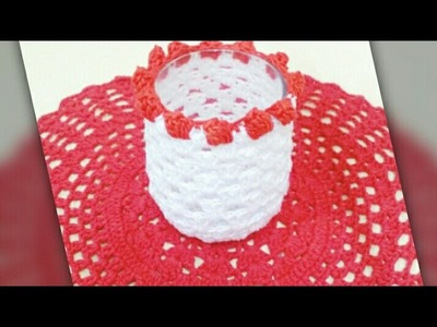 Crochet glass cover.candle holders tutorial