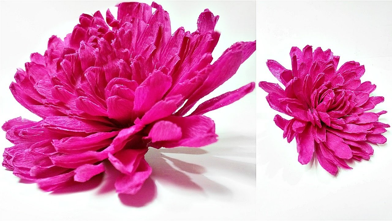 Dahlia Crepe Paper Flower Diy Making Tutorial Paper