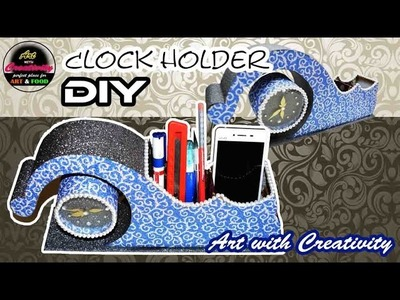 Desk Clock holder. Pen holder. Cell phone holder | DIY | Art with Creativity  180