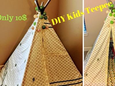 DIY 10$ Kids Teepee Tent ll No Sew DIY Teepee ll Teepee Reading Corner
