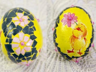 DIY #28 decoupage lesson Easter eggshell mosaic tutorial eggshell mosaic art easter eggs decor ideas