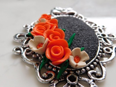 DIY: Antique Polymer Clay Flower Bouquet Pendant Tutorial