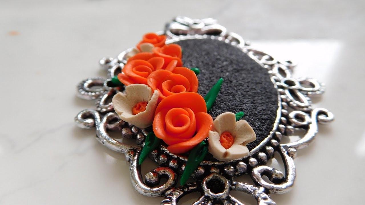 DIY: Antique Polymer Clay Flower Bouquet Pendant Tutorial