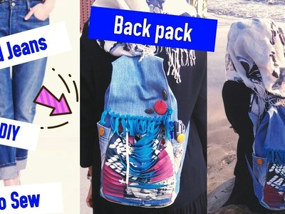 DIY- Backpack from old jeans  No Sew-Recycle