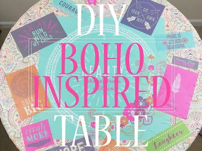 DIY BOHO INSPIRED TABLE TUTORIAL USING PAPER AND MODGE PODGE