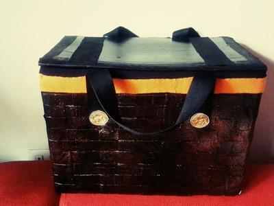 DIY cardboard basket for picnic. easy tutorial