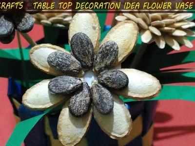 DIY CRAFTS : TABLE TOP DECORATION IDEA FLOWER VASE