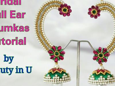 DIY | Designer Bridal Full Ear Jhumkas making at Home | Silk Thread.Paper Earrings |  Tutorial