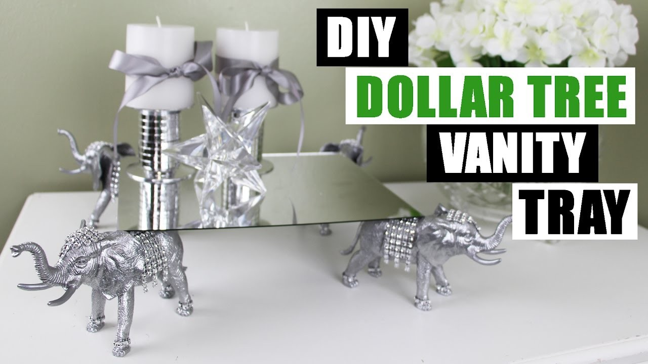 Diy dollar tree vanity tray z gallerie inspired diy for Bathroom decor dollar tree
