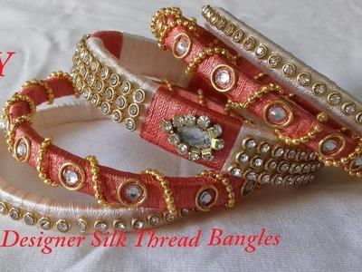 DIY || how to make fancy designer silk thread bangles at home || DIY silk thread bangles at home