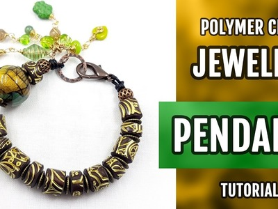 DIY How to make the bracelet with imitation of carved wood beads! Polymer Clay. VIDEO Tutorial!
