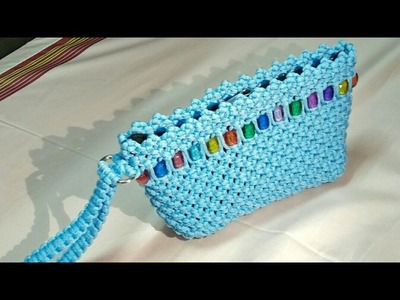 DIY Macrame ladies purse | macrame clutch | with Sewing pocket tutorial