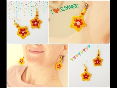 DIY Macrame tutorial. How to make sweet macrame star earrings with glass beads.