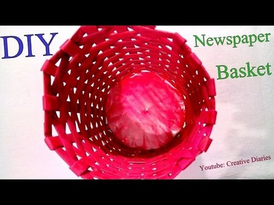 DIY Newspaper Basket I How to make newspaper basket by weaving I Creative Diaries