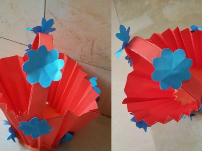 DIY Origami Basket - How To Make Paper Basket With Handle Very Easily - Ideas of Paper Crafts